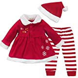 Freebily Baby Girls Long Sleeve Fleece Christmas Santa Costume Party Outfits Fancy Dress Top with Pants Hat Set Red 9-12 Months