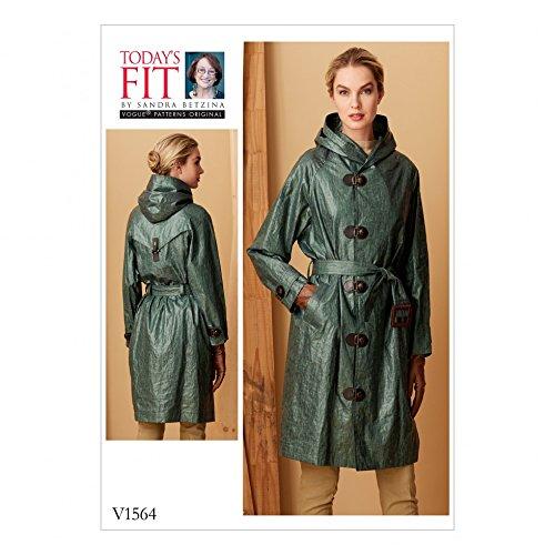 Vogue Damen Schnittmuster 1564Regenmantel mit Kapuze und Gürtel
