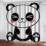 MXYHDZ Cortinas Opacas de Salon - Panda animal de dibujos animados Impresión 3D, Dormitorio Aislantes Termicas con Ollaos - 150 x 166 cm para Oficina y salón, Dormitorio habitación de los niños, 2 Pie
