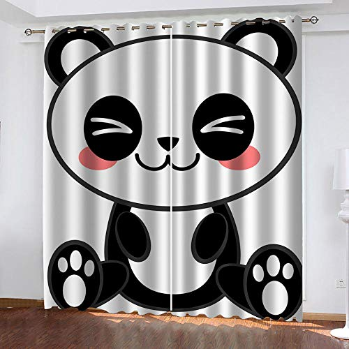 LucaSng Dibujos Animados Cortinas aislantes termicas con argollas Panda Cortinas Infantiles 3D Patrón Cortinas Opacas habitacion y Dormitorio para Infantiles 132x210 cm