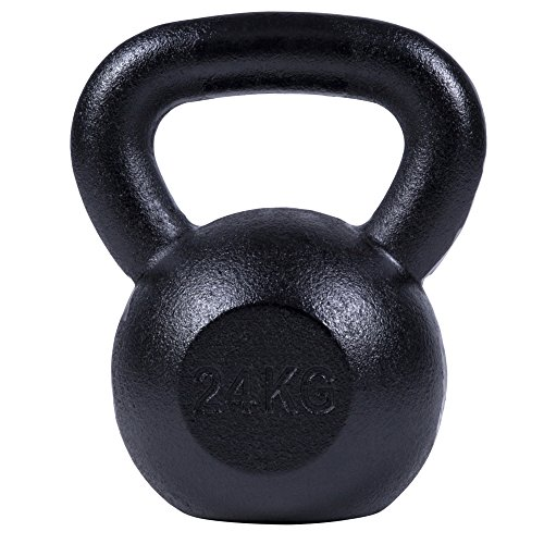 GORILLA SPORTS® Kettlebell 2-32 kg Gusseisen Einzeln/Set – Fitness-Kugelhantel in 17 Gewichtsvarianten Gold/Silber/Schwarz (20 KG, Schwarz)