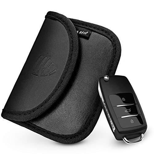 ESUS® Keyless Go Schutz Autoschlüssel TÜV Geprüft Schlüsseletui Diebstahlschutz RFID Schutz Keyless PU Autoschlüssel Tasche Keyless Go - 2X Gratis RFID Schutzhülle & RFID Guide
