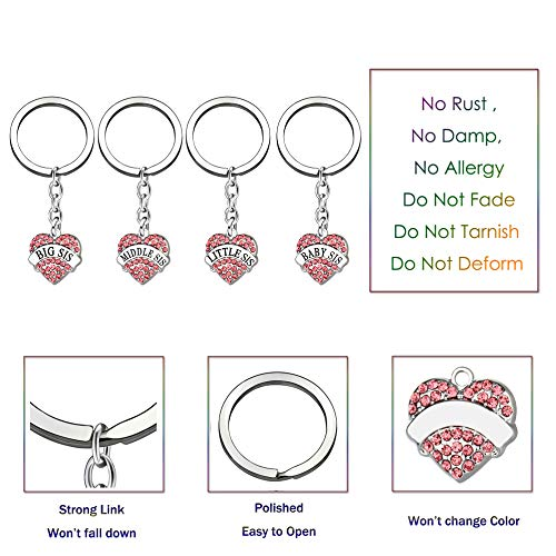 4pcs Women Girl Gift Big Middle Little Baby Sister Love Heart Pendant Key Chain Ring Set Family Jewelry (4pcs Pink B/M/L/B Sister Key Chains) Photo #3