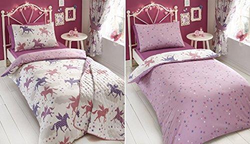 Kids Club–Divine Einhörner Bettbezug-Sets oder Vorhänge oder Tagesdecke, 48 % Baumwolle / 52 % Polyester, King Size Duvet Cover Set