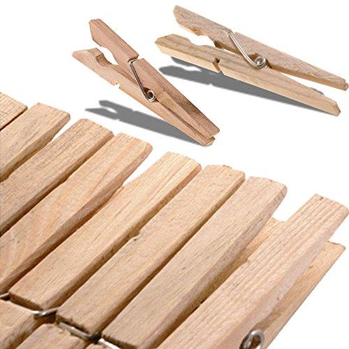 80 Stück XXL Wäscheklammern aus Holz, naturbelassene Holzklammern 10cm, Holzwäscheklammern groß, mit starker Metallfeder und robust verarbeitet zum Aufhängen der Wäsche, optimale Größe