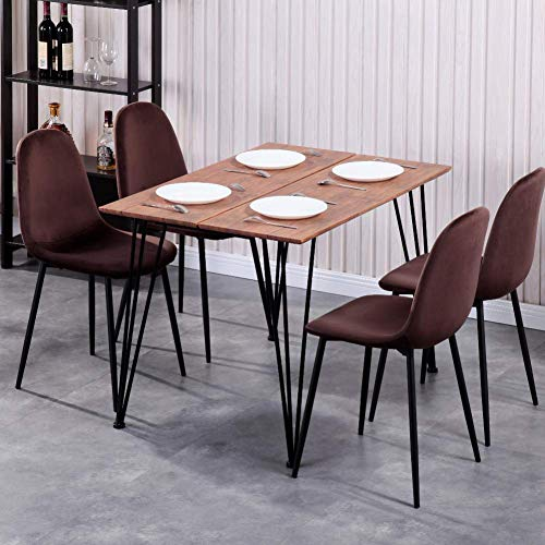 GOLDFAN Esstisch mit 4 Stühlen Rechteckiger Esstisch Retro Design Küchentisch und Samt Stuhl mit Metallbeine für Wohnzimmer Esszimmer Wohnzimmer Büro, Braun