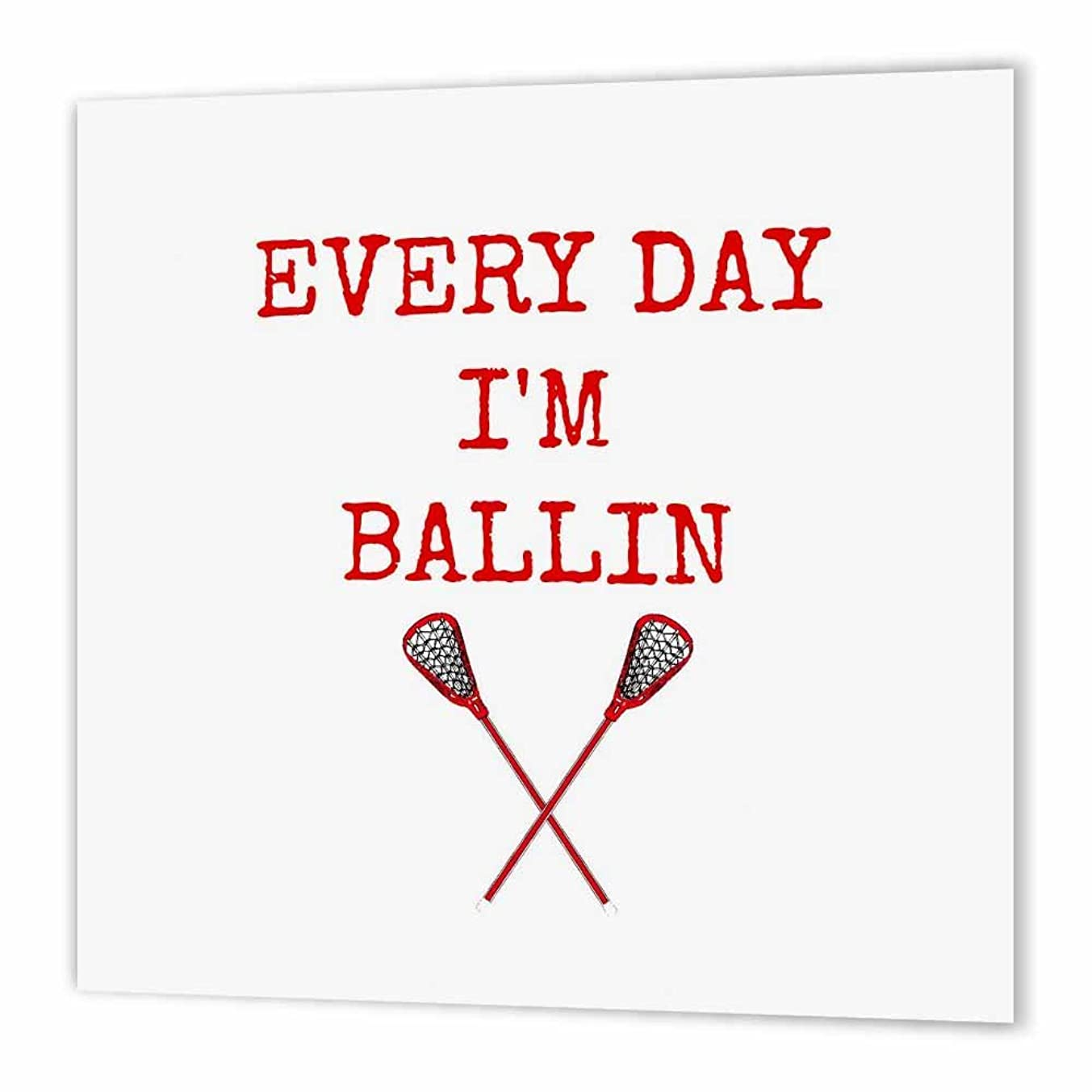 3dRose Every Day im Ballin, Lacrosse Sticks Picture, red Lettering-Iron On Heat Transfer, 8 by 8-inch, for White Material (ht_172356_1)