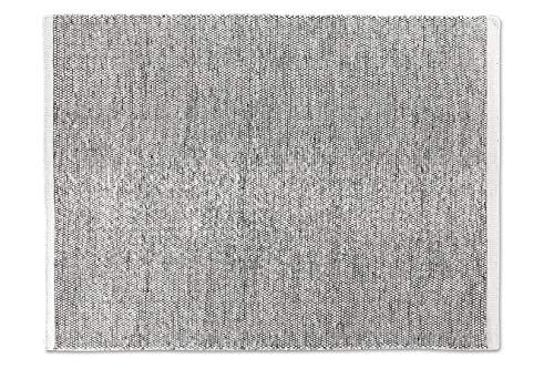 LIFA LIVING Handangefertigter Wollteppich im Vintagestil, 70% Wolle und 30% Baumwolle 140 x 200cm (Schwarz/Weiß)