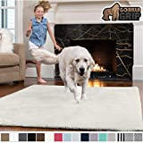 GORILLA GRIP Original Faux-Chinchilla Area Rug, 2.5x5 Feet, Super Soft and Cozy High Pile Washable Carpet, Modern Rugs for Floor, Luxury Shag Carpets for Home, Nursery, Bed and Living Room, Ivory