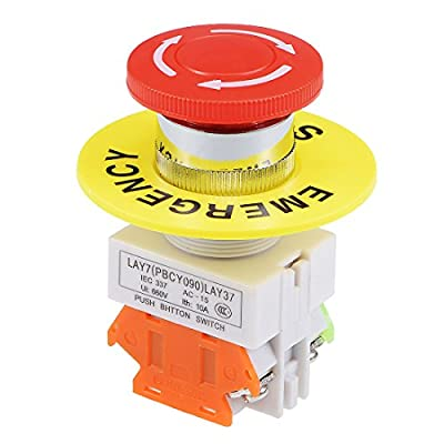 uxcell 22mm Mushroom Latching Emergency Stop Push Button Switch Red