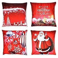 COPRIPIUMINO NATALIZIO: Viene fornito con 4 modelli attraenti di cuscini per cuscini natalizi 18 x 18 pollici. Copri cuscino SOLO! (Il cuscino interno non è incluso) Regalo perfetto per metterli sul divano o sul letto di casa, in ufficio, in macchina...
