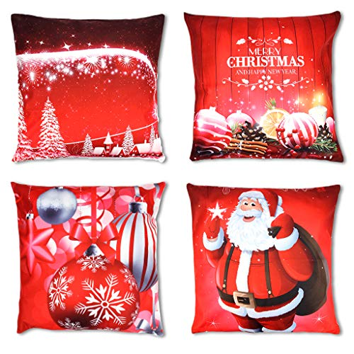 OWUDE Merry Christmas Covers 4 Pack, Super Soft Cushion Covers Home Decorativi Gettare Federe per Soggiorno Divano Letto da Studio, Rosso, 18'x 18'