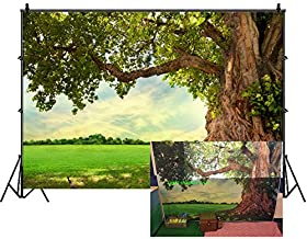 Leowefowa 7X5FT Vinyl Nature Spring Backdrop Rural Aged Tree Sunshine Blue Sky White Cloud Grass Field Outdoor Picnic Kids Adults Wedding Party Decoration Photography Background Photo Studio Props