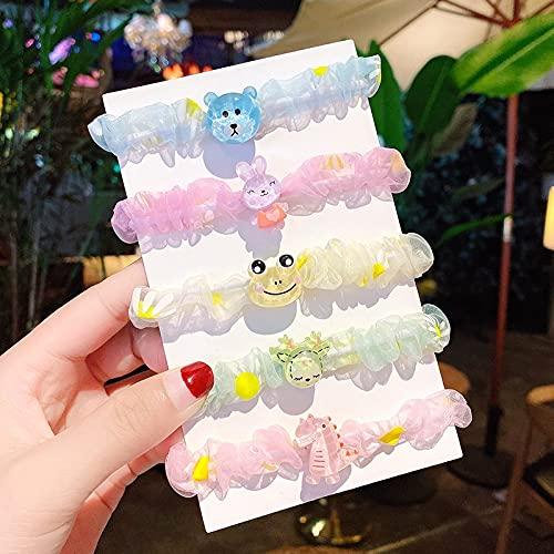 PPuujia Anillo para el pelo con diseño de margarita arco iris para niños y niñas, color grande, cuerda para el pelo de bebé, accesorios para el pelo (color: Ks07 06, 5 unidades)