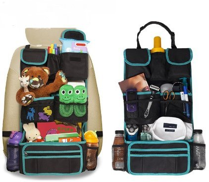 Back Seat Car Organizer - Kids Storage Compartment - Holds Tablets - Ipads - Cups - Bottles -Toys - Stuffed Animals - Snacks - Detachable - Adjustable - Removable Documents Wallet