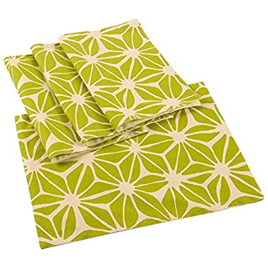 4-Pack Cloth Placemats Set - Dining Table Mats with Floral Print for Kitchen, Dining Table Decor, Green and Beige, 18 x 13 Inches