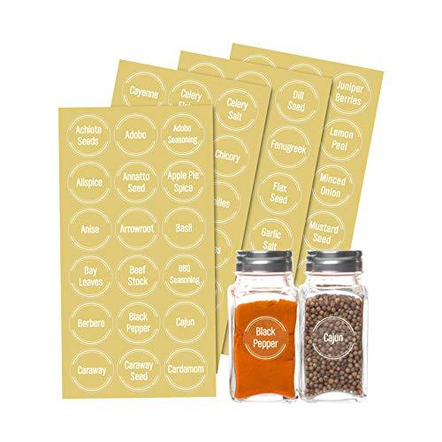 Etiqueta para Botella de Especias, 144 Piezas etiquetas adhesivas para tarros de hierbas y especias, etiquetas impresas para contenedores de despensa