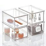 mDesign Organizador de maquillaje – Cajonera apilable hecha de plástico – Práctica caja de almacenamiento para ordenar artículos del baño – Juego de 4 – transparente
