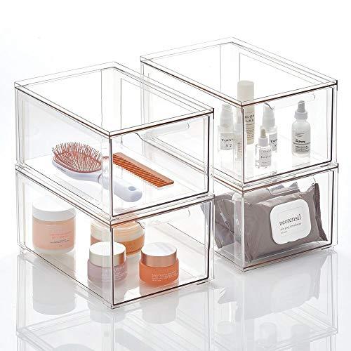 mDesign Kosmetikorganizer – stapelbare Schubladenbox aus Kunststoff – praktische Box zur Aufbewahrung von Badartikeln – 4er-Set – durchsichtig