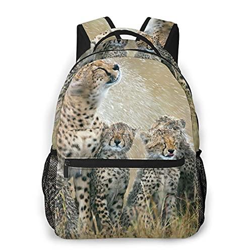 EUlemon Mochila para computadora portátil de viaje,Seis adorables cachorros de guepardo consiguen remojar a un animal salvaje,mochila antirrobo resistente al agua para negocios