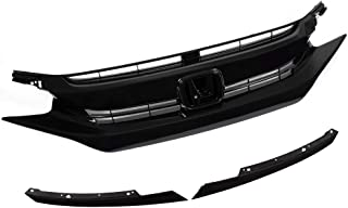 Grille Fit for Honda Civic 10th Gen 2016 2017 2018 | Factory Style Gloss Black Front Upper Bumper Grille Hood + Eye Lid ABS Plastic