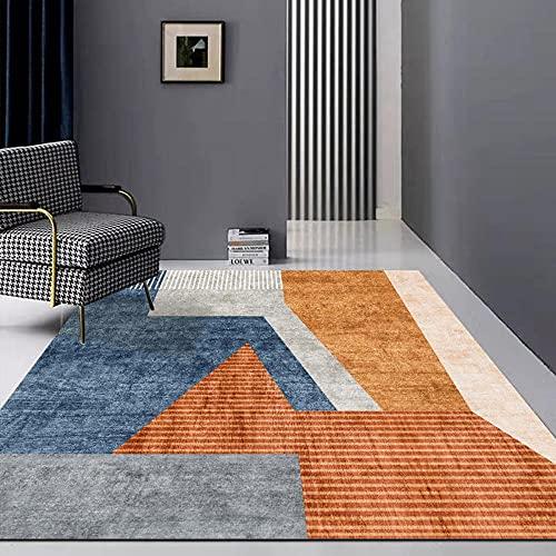 CCTYJ Naranja marrón Gris Azul Irregular patrón geométrico de Moda Corredor Interior Sala de Estar área de sofá Alfombra decorativa-80x120cm fácil de Limpiar Igual Que la Foto Pelo Corto relación Cal
