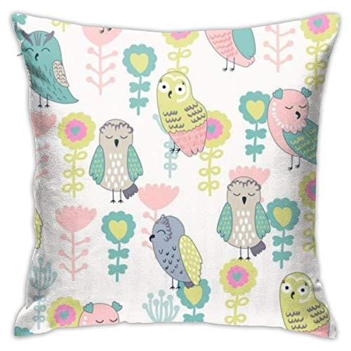 LuoYangShiLaoChengQuTianYuGangCaiXiaoShouBu Cartoon Cute Owlplush Pillowcase Romantic Living Room Family Bedroom Pillowcase 18 X 18 Inches
