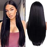 YEESHEDO Peluca larga recta negra pelucas mujer pelo natural, sintético suave de las señoras que mira realista fibra resistente al calor 26 pulgadas (negro)