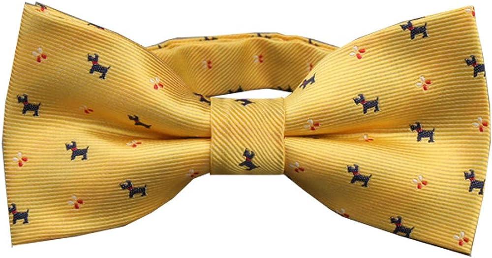 D&L Menswear Pre-Tied Yellow Bow Tie Terrier Dogs Pattern Adjustable Neck Bowtie
