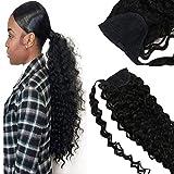 VeSunny 18inch Curly Wavy Ponytail Extensions Human Hair #1B Jet Black Natural Wavy Remy Human Hair Clip in Ponytail Extensions 80g/set