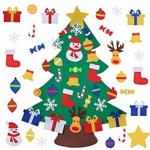 Yidaxing Albero di Natale in Feltro, 3.28ft della Feltolta di DIY con 30 Ornamenti Staccabili Regali di Natale di Nuovo Anno per la Decorazione da Parete per Bambini