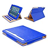 """MOFRED® Blue & Tan 9.7 inch Apple iPad Pro (Launched 2016) Leather Case-MOFRED®- Executive Multi Function Leather Standby Case for Apple New iPad Pro 9.7"""" with Built-in magnet for Sleep & Awake Feature"""