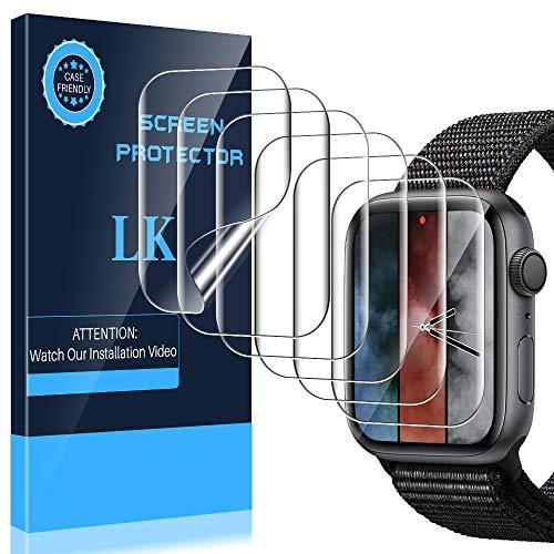 LK Pellicola Protettiva per Apple Watch 44mm Series 5/4/3/2/1, Wet Applied [Bubble-Free-Riutilizzabile] HD Clear TPU Film Silicone Pellicola