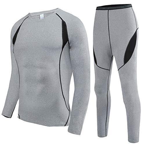 HAINES Conjunto Termico Hombre Ropa Interior Termica Esqui Camiseta Termica para Montaña Ciclismo Fitness Gris M