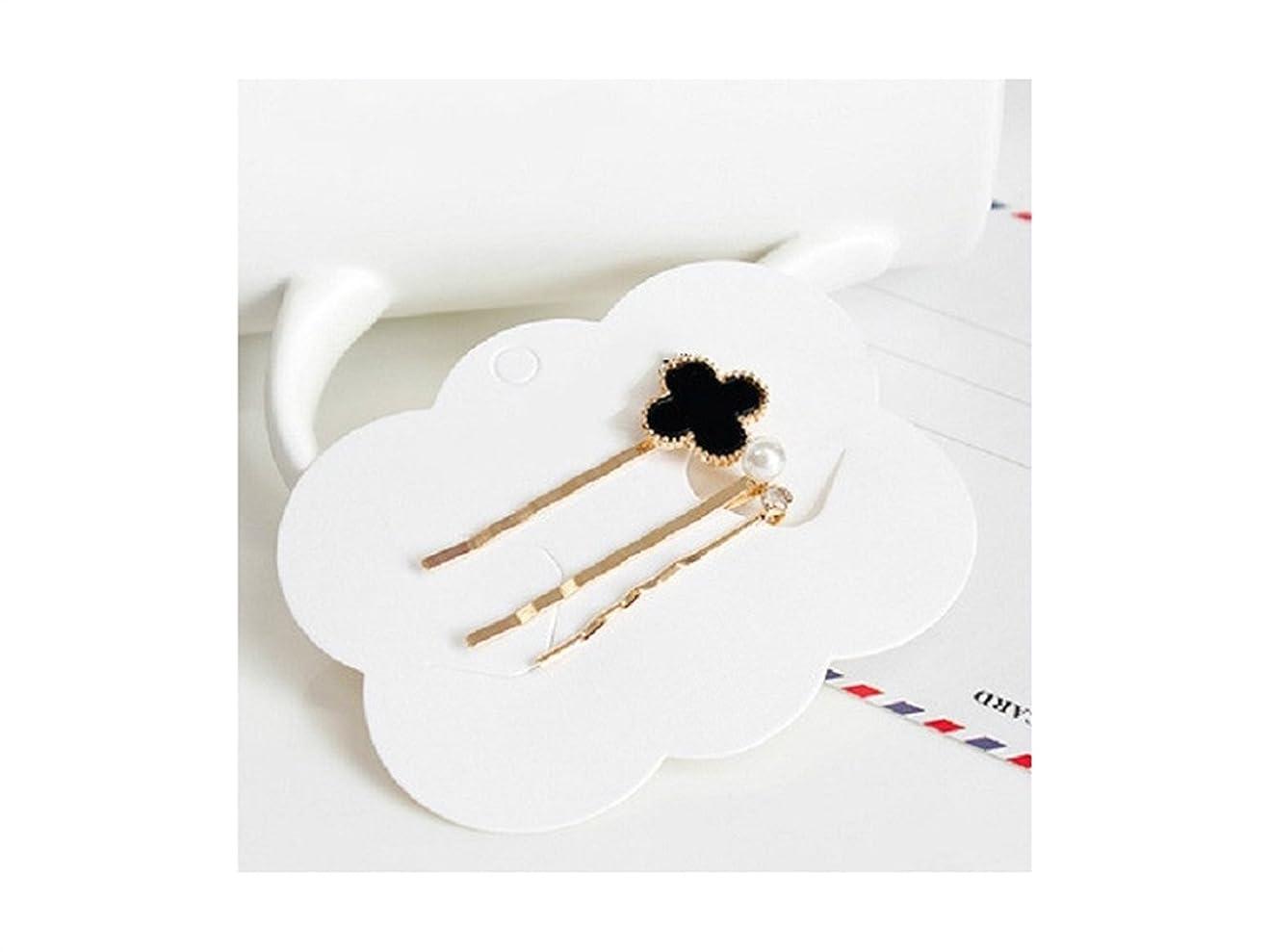 エキスパート振るヒロイックOsize 美しいスタイル 合金クローバーヘアクリップワンワードサイドクリップヘアピンヘアアクセサリー(ブラック)