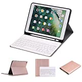 iPad 9.7 inch 2018&2017 Keyboard Case, Slim Folio Cover Removable Detachable Wireless Bluetooth Keyboard with Apple Pencil Holder for iPad Air/Air 2/ iPad 6th / 5th Gen (Rose Gold)