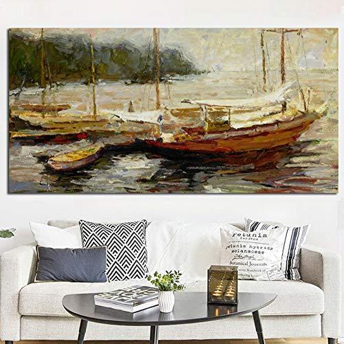 RTCKF Seascape Boot Landschaft Poster abstrakte Ölgemälde im Wohnzimmer Wohnkultur Leinwand Wandbild Ozean Landschaft (kein Rahmen) A5 50x100cm