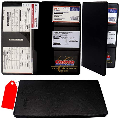 Zzteck Car Registration and Insurance Holder - PU Leather Vehicle Glovebox Visor Organizer Wallet for Auto Paperwork, Car Document Holder Glove Compartment Organizer Black