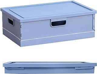 折りたたみ 収納バスケット ボックス 収納ケース 蓋付き 折りたたみ バスケット 折り畳み式 収納ケース ボックス 頑丈 本/書類/雑誌/小物収納 卓上収納(39*26.5*13 cm, ブルー)