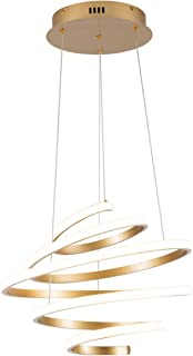 HUOYAN-LIGHTING Modern Pendant Light, Creative Spiral LED Chandelier Hanging Light Fixtures Adjustable Height Lighting for Living Room Bedroom Dining Room Hallway Kitchen,UL Listed