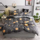 Lili Autumn Bedding Set Woman Stripe Duvet Cover Set Summer Grey Sheet, Pillowcase&Duvet Cover Leaf Bed Linen Set Queen King,Grey Orange,Full