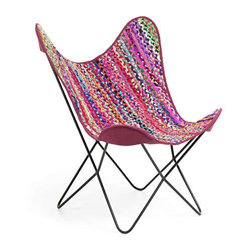 Kave Home - Sillón Fly con Estructura Butterfly de algodón Multicolor y Ancha Rosa