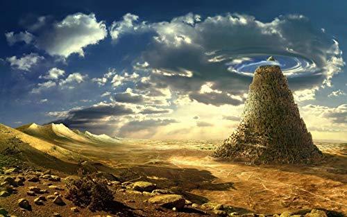 Diy 5D Diamante Pintura Por Kits De Números Torre De Babel Fantasía Taladro Redondo Bordado Punto De Cruz Para Decoración De La Pared Del Hogar 30X40cm