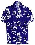 LA LEELA Men's Designer Palm Tree Fashion Short Sleeve Hawaiian Shirt 3XL Blue_W420
