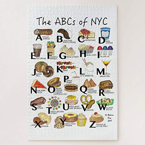 ANGELA G Wooden Jigsaw Puzzle 500 Piece for Adults, ABCs of NYC Iconic New York City Foods Alphabet Jigsaw Puzzle Game Toys Gift Jigsaw Puzzle