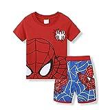 Boys Pajamas Set 100% Cotton Spiderman Kids Short Snug Fit Pjs Summer Toddler Sleepwear (094, 5T)