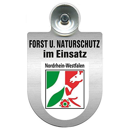 Einsatzschild mit Saugnapf - Forst u. Naturschutz im Einsatz 393813 incl. Regionenwappen nach Wahl Farbe Region Nordrhein-Westfalen