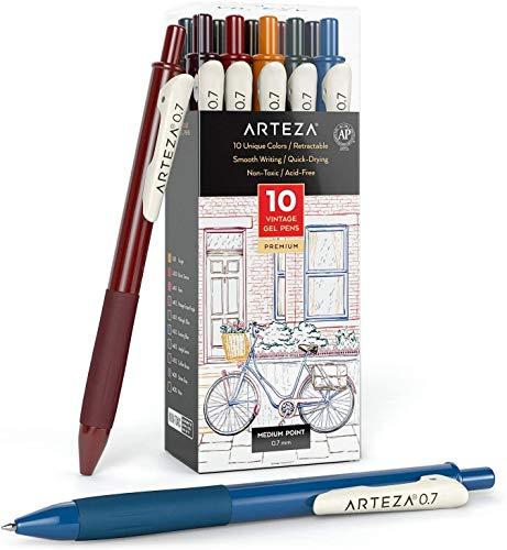 Arteza Bolígrafos de gel de colores, paquete de 10 tonos vintage diferentes, punta fina de 0.7 mm, 10 plumas de gel para escribir en tu diario, dibujar, hacer garabatos y tomar notas