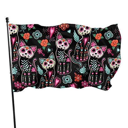 Bandera del día de los muertos gato gatito azúcar calavera 3 x 5 pies gran bandera de poliéster cosida exterior bandera estándar colgante