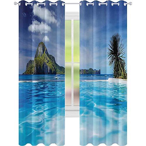Cortinas opacas, aislamiento de juntas, paisaje con piscina e isla lejana tropical exótica hawaiana sueño temático, 52 x 72 cortinas para sala de estar, color verde turquesa